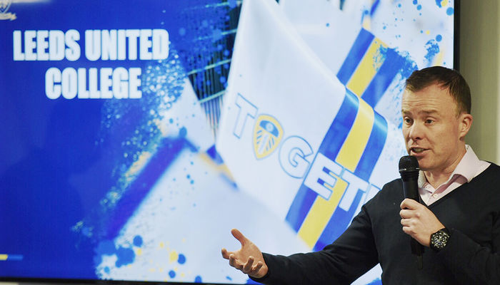 Angus Kinnear inspires students at Leeds United College