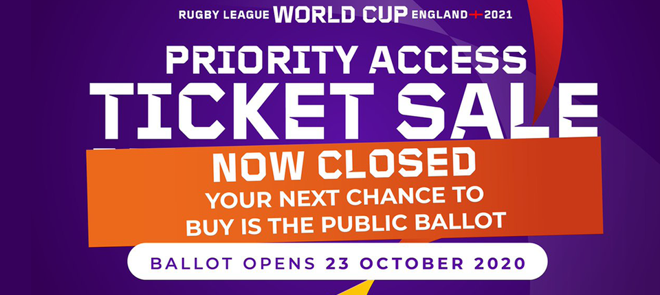 Public Ticket Ballot for 2021 Rugby League World Cup to open next week