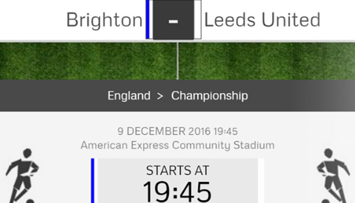 MATCH CENTRE: BRIGHTON & HOVE ALBION V LEEDS UNITED