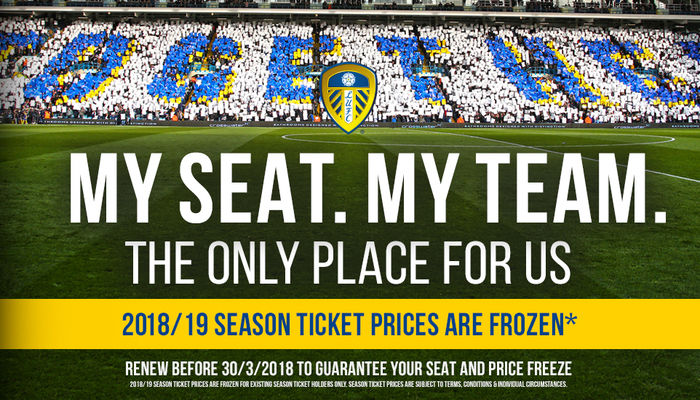LEEDS UNITED 2018/19 SEASON TICKETS