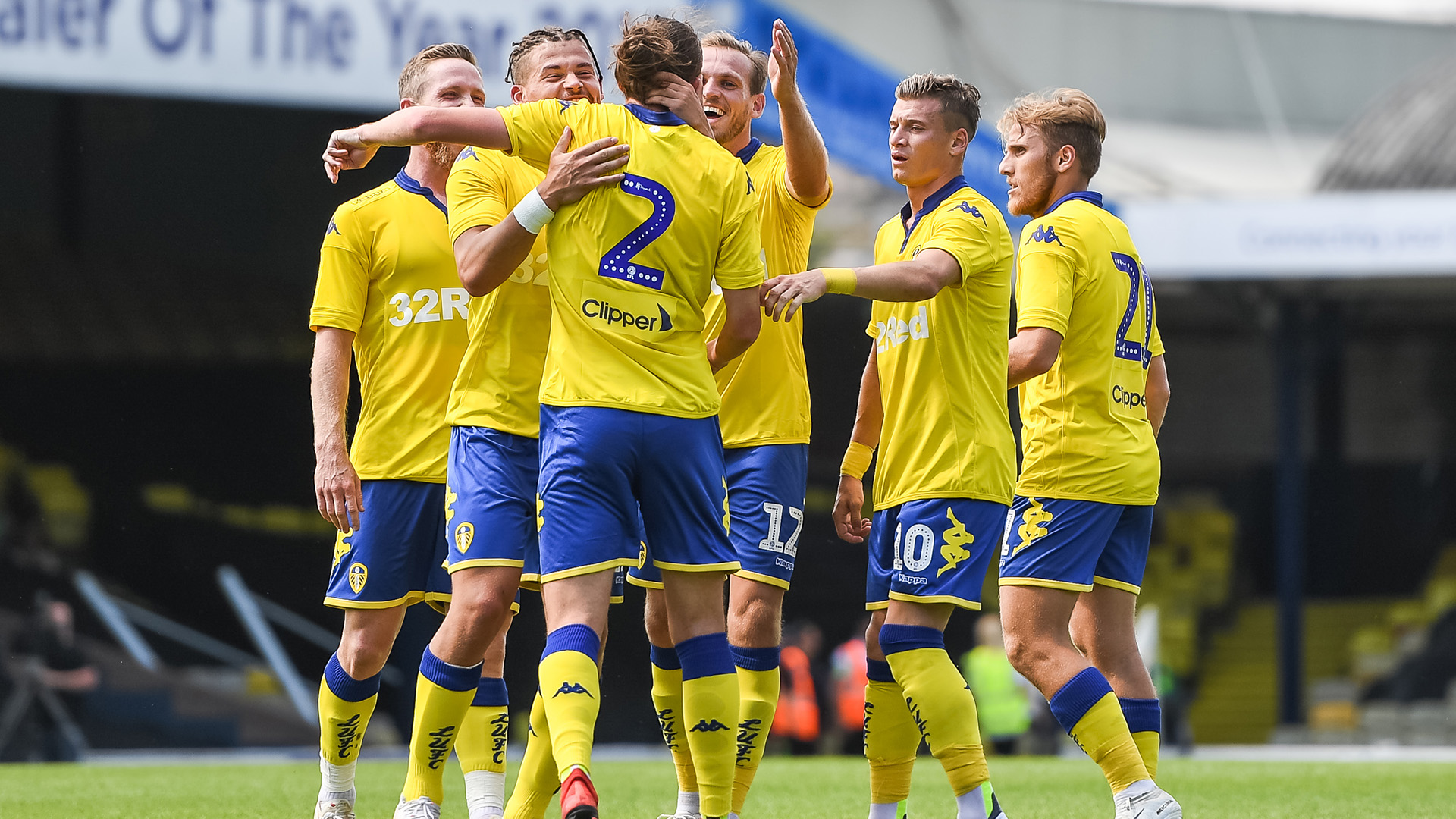 Luke Ayling celebrates scoring