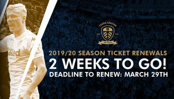 SEASON TICKET RENEWAL DEADLINE JUST TWO WEEKS AWAY
